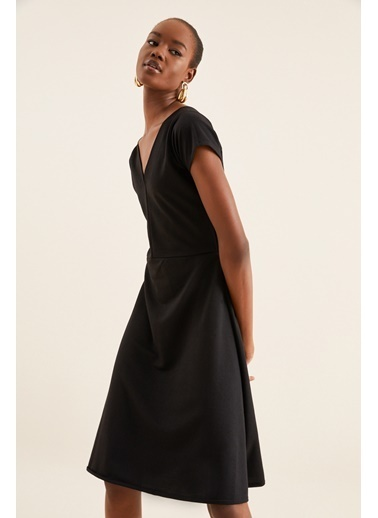 Quincey V Yaka Midi Elbise Siyah